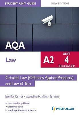 AQA A2 Law Student Unit Guide New Edition Unit 4 (Sections A & B) Criminal Law (Offences Against Pro | Ian Yule, Jennifer Curren, Jacqueline Hankins | Hodder